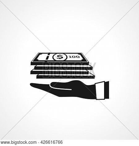 Give Money. Hand Holding Money Sign. Money Isolated Simple Vector Icon
