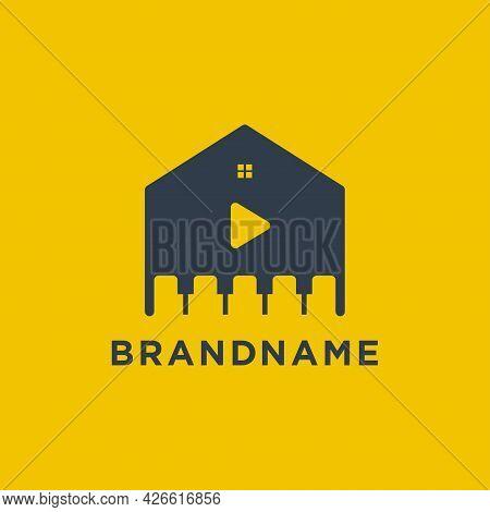 House Piano Play Music Symbol Logo Concept Inspiration