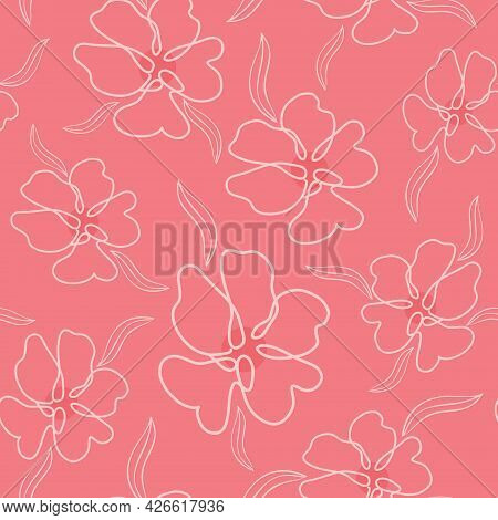 Bright Coral Color Pattern With Delicate Monoline Flowers, Vector Illustration. Seamless Floral Back