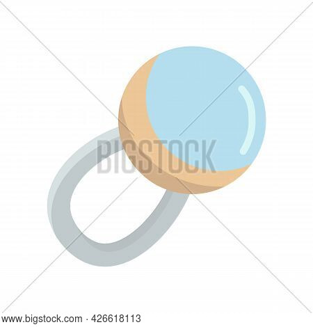 Blue Baby Rattle Toy Isolated Vector Illustration