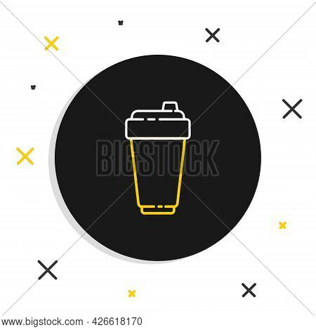 Line Fitness Shaker Icon Isolated On White Background. Sports Shaker Bottle With Lid For Water And P
