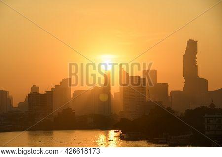 Bangkok Thailand Sunrise Skyline Silhouette View Withurban Office Buildings.