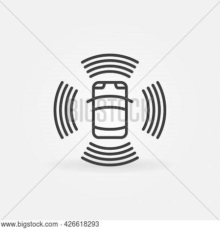 Autonomous Automobile Linear Icon. Self Driving Car Vector Sign
