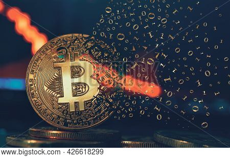 Crypto Currency Golden Coin. Gold Bitcoin Falling Apart. Concept Of A Cryptocurrency Market Crisis A
