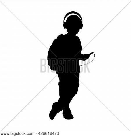 Silhouette Teenage Boy Listening Music. Symbol Illustration Icon Logo