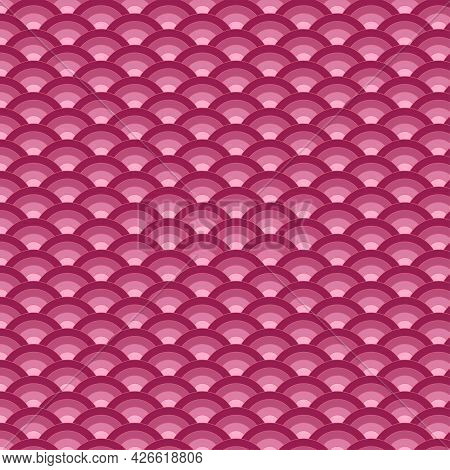Wave Pattern Style Japan. Red Fish Scales Background. Illustration Art Design.