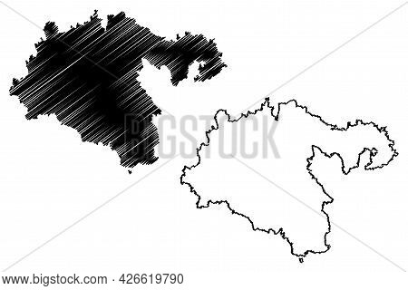 Heidenheim District (federal Republic Of Germany, Rural District, Baden-wurttemberg State) Map Vecto