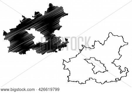 Heilbronn District (federal Republic Of Germany, Rural District, Baden-wurttemberg State) Map Vector