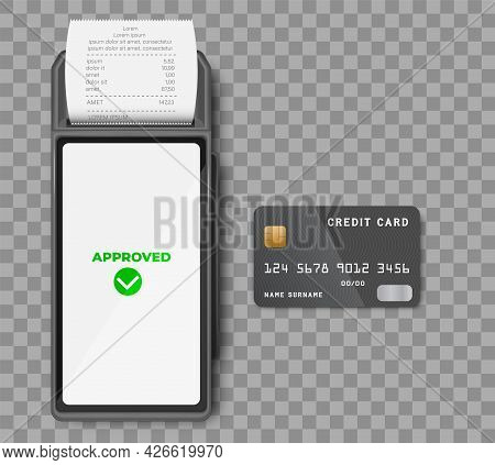 Realistic 3d Detailed Bank Pos Terminal With Tick Marks On Screens, Credit Cards, Smartphone And Tra