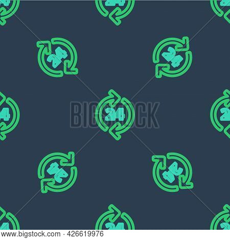 Line Telephone 24 Hours Support Icon Isolated Seamless Pattern On Blue Background. All-day Customer