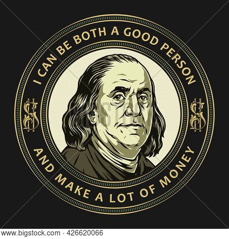 Money Vintage Colorful Round Print With Inscriptions And Benjamin Franklin Portrait Isolated Vector