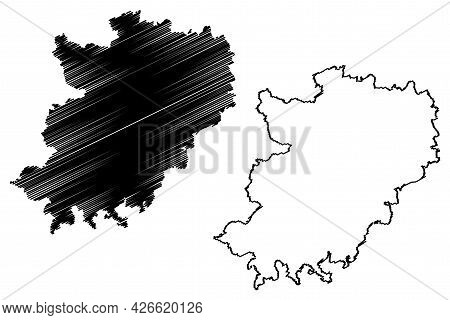 Hohenlohe District (federal Republic Of Germany, Rural District, Baden-wurttemberg State) Map Vector