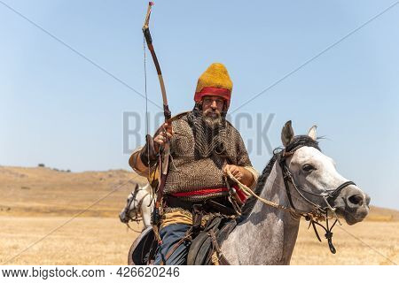 Tiberias, Israel, July 02, 2021 : Horse Warrios - Participant In The Reconstruction Of Horns Of Hatt