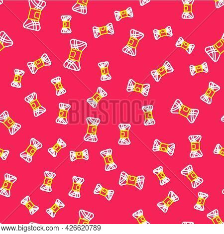 Line Yarn Icon Isolated Seamless Pattern On Red Background. Label For Hand Made, Knitting Or Tailor