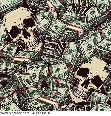 Money Vintage Seamless Pattern With One Hundred Us Dollar Bills Skulls Skeleton Hands Holding Americ