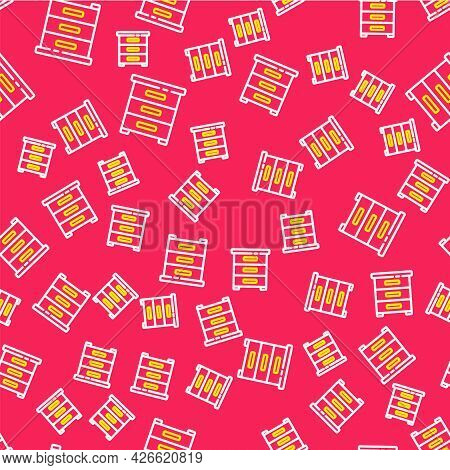 Line Drawer With Documents Icon Isolated Seamless Pattern On Red Background. Archive Papers Drawer.