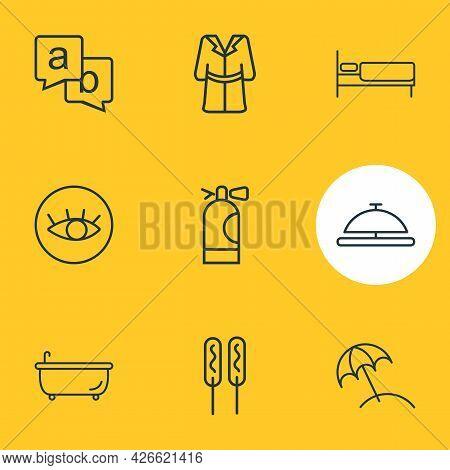 Vector Illustration Of 9 Vacation Icons Line Style. Editable Set Of Bathrobe, Bathtub, Beach Umbrell