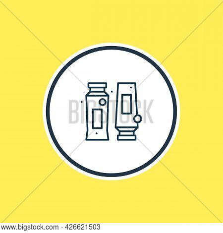 Vector Illustration Of Shampoo With Conditioner Icon Line. Beautiful Toilet Element Also Can Be Used