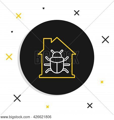 Line House System Bug Concept Icon Isolated On White Background. Code Bug Concept. Bug In The System