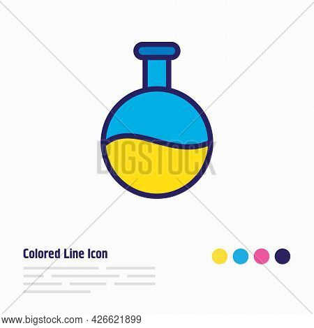 Vector Illustration Of Flask Icon Colored Line. Beautiful Science Element Also Can Be Used As Test T