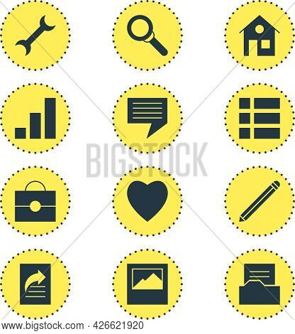 Vector Illustration Of 12 Online Icons. Editable Set Of Briefcase, Heart, Progress Bar And Other Ico