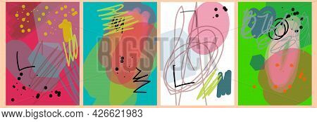 Abstract Doodle Background, Template, Artistic Covers Design, Colorful Texture. Trendy Pattern, Grap