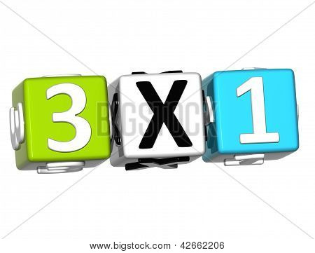 3D Three For One Button Click Here Block Text