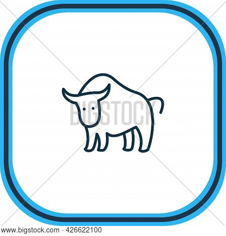 Vector Illustration Of Bull Icon Line. Beautiful Zoology Element Also Can Be Used As Ox Icon Element