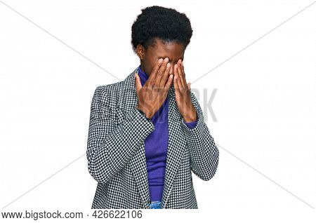 Young african american girl wearing casual clothes rubbing eyes for fatigue and headache, sleepy and tired expression. vision problem