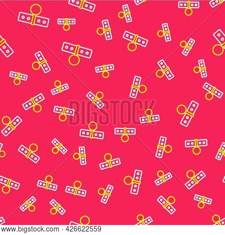 Line Collar With Name Tag Icon Isolated Seamless Pattern On Red Background. Simple Supplies For Dome