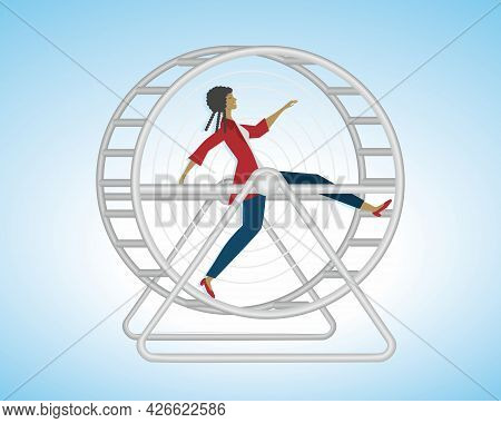 Woman Running In Hamster Wheel. Stress, Hurry, Stucked In Life. Vector Illustration. Eps10.