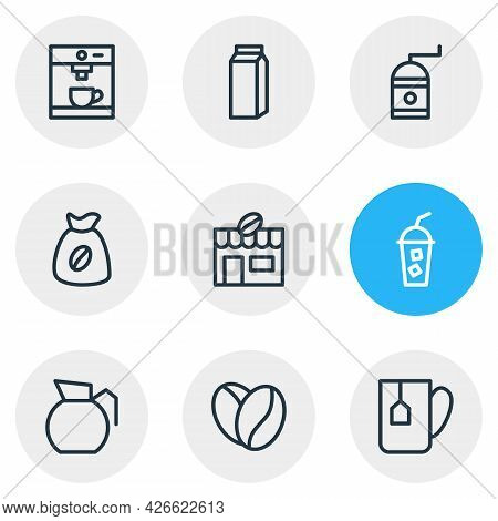 Vector Illustration Of 9 Coffee Icons Line Style. Editable Set Of Arabica Bean, Cold Drink, Sack And