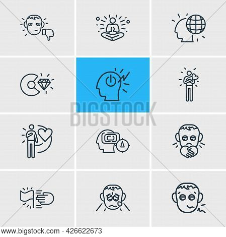 Vector Illustration Of 12 Emotions Icons Line Style. Editable Set Of Meditation, Goals, Grieving And