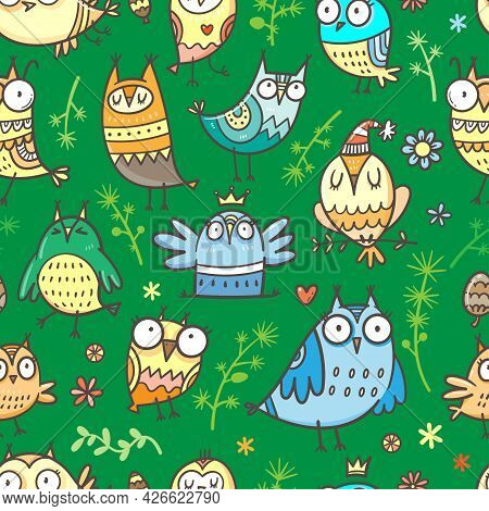 Seamless Pattern With Cute Cartoon Owls And Plants On Green Background. Funny Doodle Vector Wallpape