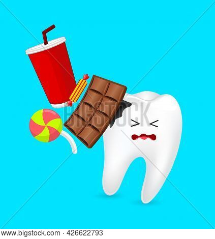 Effects Of Sugar To Teeth. Dental Care Concept. Sweet Food As An Acid Cauaing Bacteria And Molar Cav