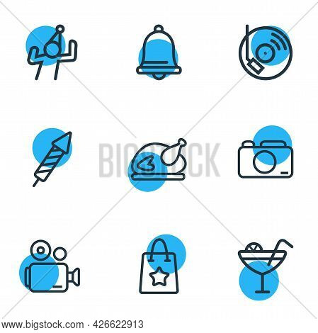 Vector Illustration Of 9 Celebration Icons Line Style. Editable Set Of Video Camera, Dancing Man, Gi