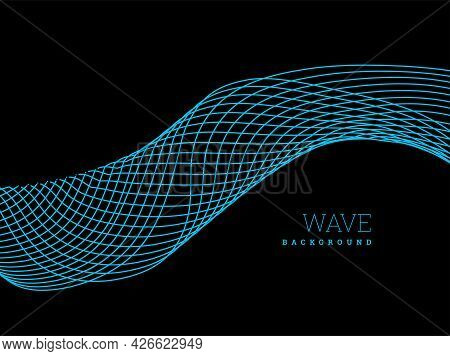 Abstract Waves From Lines. Blend Design. Vector Illustration