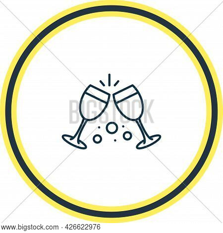 Vector Illustration Of Cheers Icon Line. Beautiful Beverages Element Also Can Be Used As Celebration