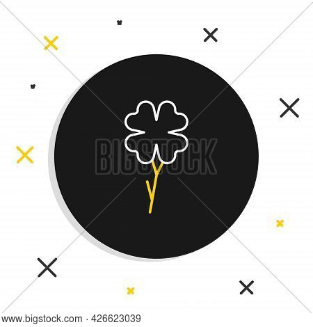 Line Four Leaf Clover Icon Isolated On White Background. Happy Saint Patrick Day. Colorful Outline C