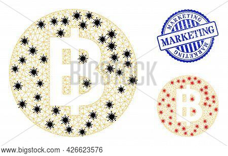 Mesh Polygonal Bitcoin Coin Symbols Illustration In Infection Style, And Grunge Blue Round Marketing