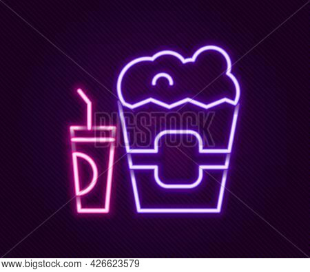 Glowing Neon Line Popcorn In Cardboard Box And Paper Glass With Drinking Straw And Water Icon Isolat