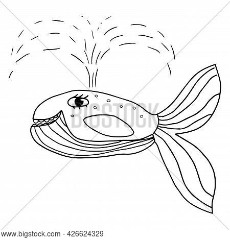 Cartoon Doodle Linear Whale Isolated On White Background. Sea Animal In Childlike Style.