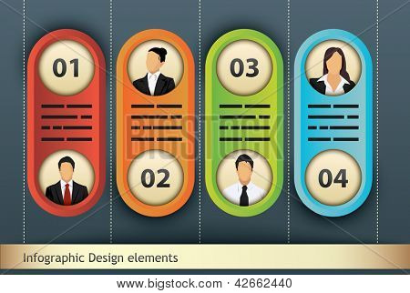 poster of Presentation template with four options, each with space for text, title and additional business person portrait