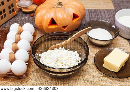 Ingredients For Making Cottage Cheese Dough For Molded Cookies For Halloween Making Cookies For Hall