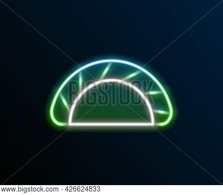 Glowing Neon Line Dumpling Icon Isolated On Black Background. Traditional Chinese Dish. Colorful Out