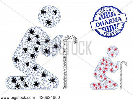 Mesh Polygonal Grandfather Pray Symbols Illustration With Outbreak Style, And Rubber Blue Round Dhar