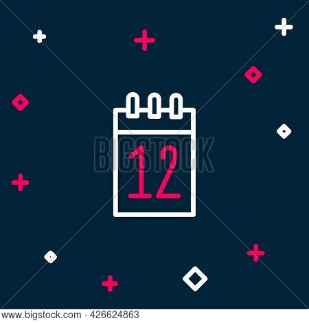 Line Calendar 12 June Icon Isolated On Blue Background. Russian Language 12 June Happy Russia Day. C