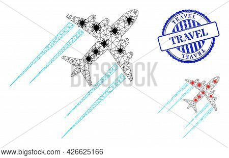 Mesh Polygonal Flying Airplane Trace Symbols Illustration With Outbreak Style, And Distress Blue Rou