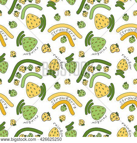 Kids Bright Funny Doodle Style Green And Yellow Pattern With Strawberry Fruits And Rainbows, Strawbe