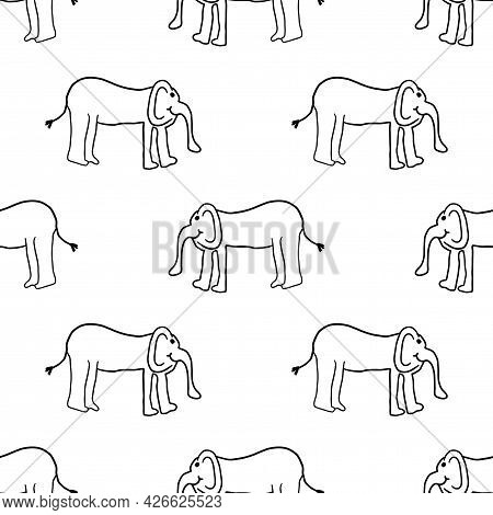 Cartoon Doodle Linear Elephant Seamless Pattern. Abstract Background With Cute Hand Drawn Elephant I